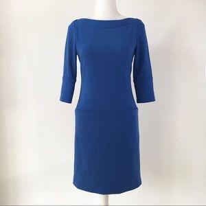 Jessica Simpson boatneck blue sheath dress classic